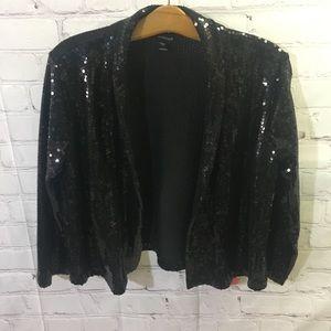 Forever Open Front Cropped Black Sequin Jacket
